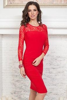 Красное платье с кружевом Angela Ricci со скидкой