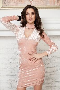 Бежевое бархатное платье Angela Ricci со скидкой